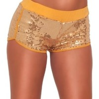 Trendy Micro Mini Sequins Style Exercise Lounge Elastic Waist Hot Bootie Shorts