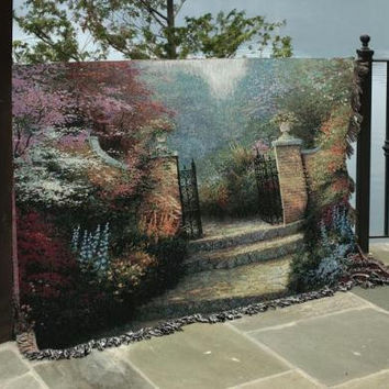 Thomas Kinkade Victorian Garden Afghan - Officially Licensed