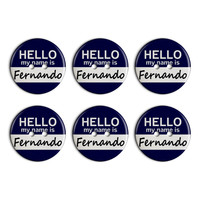 Fernando Hello My Name Is Plastic Resin Button Set of 6