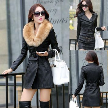 Faux Leather Jacket With Fur For Women
