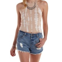 Taupe Combo Racer Front Tie-Dye Tank Top by Charlotte Russe