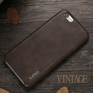 X-Level Vintage Leather Case For Apple iPhone 6 6s 4.7/ 6 plus 6s plus 5.5 inch Protective Back Cover Phone Capa Funda For Men