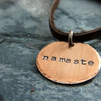 Namaste Copper Necklace, Quote Copper Disc Round Pendant, Hand Stamped, Rustic, Simple Boho, Heart Chakra