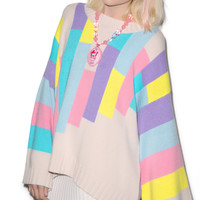 Wildfox Couture 80s Blocks Chunky Oversized Sweater Multi