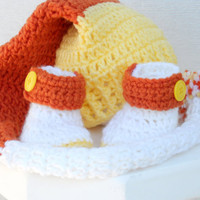 Crocheted baby pixie hat and booties candy corn Halloween set.