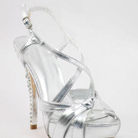"""Silver Prom shoes with 5"""" heels and 1.25"""" platform (Style 500-9)"""