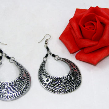 Handmade Aluminum  Etched Silver Oval Earrings