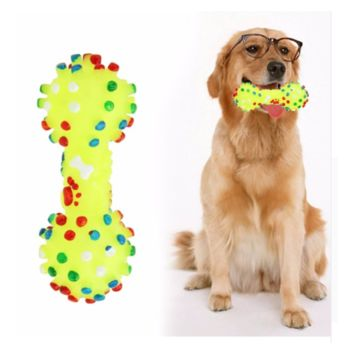 Colorful Dotted Dumbbell Shaped Squeeze Squeaky Faux Bone Pet Chew Toys