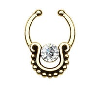 Single CZ Beaded Trim Faux Septum Hanger
