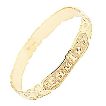 14K Yellow Gold 8mm Plumeria Queen Scroll Raise Letter Cut Out Edge Bangle(Thickness 1.0mm)