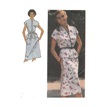 1980s Two Piece Dress Pattern Bust 38 Simplicity 9379 Cap Sleeves Top Funnel Collar and A line Skirt Vintage Sewing Pattern