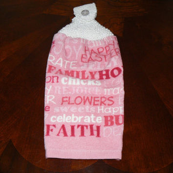 Happy Easter Hanging Kitchen Towel With Hand Knit Button Topper