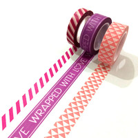 Washi tape set: Wrapped with love in Pink / Packaging & wrapping tape / Hot pink stripes / Triangles /