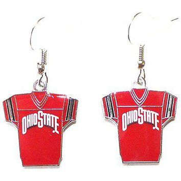 NCAA Officially Licensed Ohio State Buckeyes Jersey Style Dangle Earrings