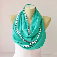 Extra long , infinity scarf with pompom trim  ,circle scarf,Loop scarf soft pashmina scarf ,CHOOSE YOUR COLOR