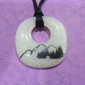 Mountains Necklace, Cream Fused Glass Jewelry, Mountain and Tree Scene  - Mountains are Calling - -5