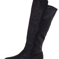 Black Faux Suede Boots With Faux Fur Lining