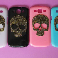 The floral skull-Samsung Galaxy S3 case,Samsung galaxy S3,in black or white or green or red