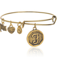 "Alex and Ani style  letter ""J"" pattern pendant charm bracelet,a perfect gift !"