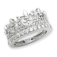 Sterling Silver Fleur-de-lis Crown CZ Ring