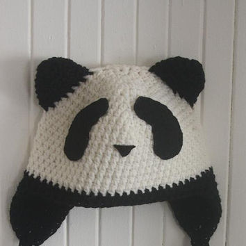 Crocheted Panda hat MADE TO ORDER