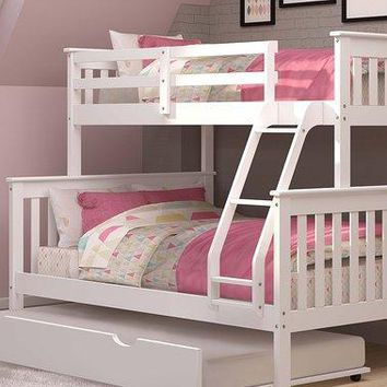 Hazel White Bunk Bed with Trundle