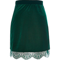 Dark green velvet lace trim mini skirt