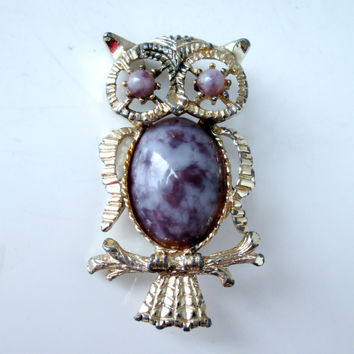 Vintage Owl Brooch Pendant Purple Faux Gemstone Gold Tone by Gerrys