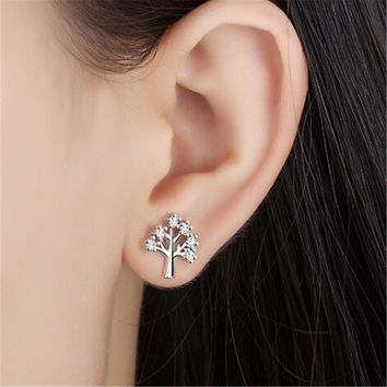 925 Silver Crystal Tree Stud Earrings +Gift Box