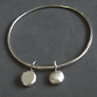 Sterling Silver Bangle With Charms Sterling Silver Charms Texture Bracelet by SteamyLab