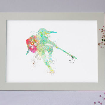 Link Legend of Zelda:  WATERCOLOR Art Illustration, Art Print, Wall Art, Giclee, Nursery, Home Decor, Gaming, Gameboy - INSTANT DOWNLOAD