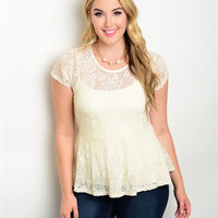 Womens Plus Size Cream Lace Peplum Top