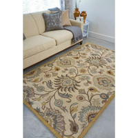 5 x 8 Foot Handmade Tufted Wool Area Rug with Beige Blue Floral Paisley