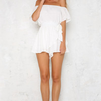 Tall Tales Playsuit White
