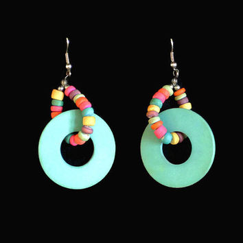1980's Multi Color Hoop Earrings, Wood Bead Earrings, Retro Earrings,