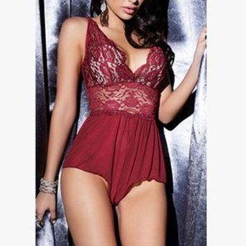 2017 Women Sexy Lingerie Lace Dress Babydoll Sleepwear Plus Size Underwear Nightwear Set