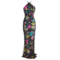 GIANNI VERSACE Couture Vintage halter dress 1990s' VIBRANT 40 / 4