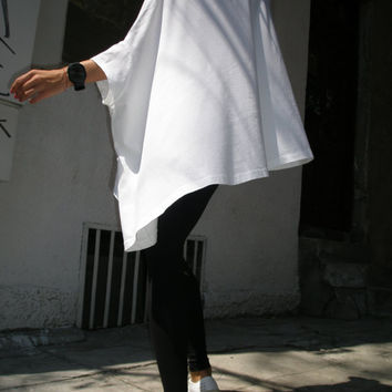 Loose Blouse / White Oversized Top / Cotton Casual