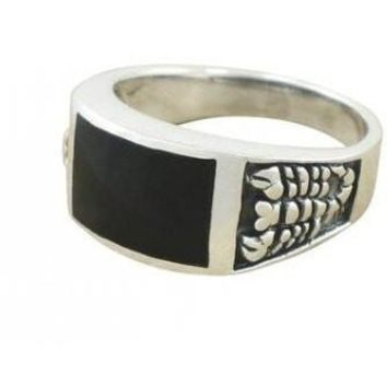 925 Sterling Silver Men's Scorpion Rectangular Black Genuine Onyx Ring