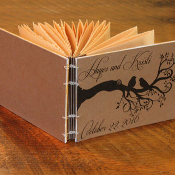 Rustic Bird Wedding Guest Book, Vintage Wedding Journal, Anniversary gift, Photos, Baby Book