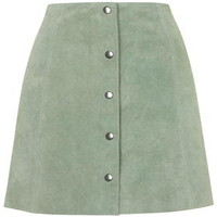 Suede Button Front A-Line Skirt - Pale Green