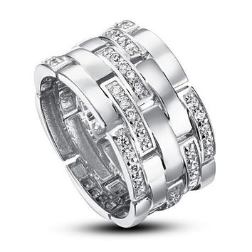 Created Diamond 925 Sterling Silver 1 cm Band Wedding Anniversary Ring