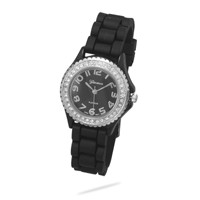 Black Silicon Fashion Watch with Crystal Accents