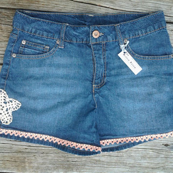 Sz 8  Blue Jean Shorts with Vintage crocheted doily and trim - Womens Ladies - Handmade by The Hippie Patch