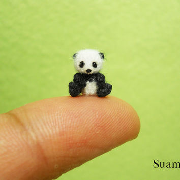 Micro Panda Bear 0.4 Inch - Tiny Crochet Amigurumi Miniature Micro Bears - Made To Order