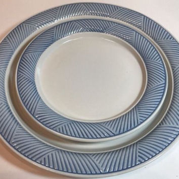 International China Passages Blue 2Pc. Place Setting Blue Border Stoneware Japan