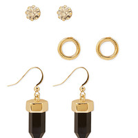 FOREVER 21 Rhinestone & Crystal Earring Set Black/Gold One