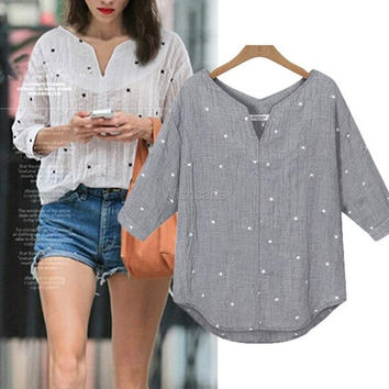 Fashion Ladies Women Casual V-Neck Medium Sleeve Print Loose Beach Tops Blouse = 5616977601