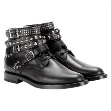 Black leather ankle boots YVES SAINT LAURENT Black