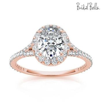 14K Rose Gold 2cttw Oval Shaped Halo Diamond Engagement Ring